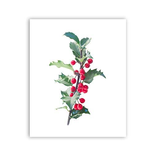 Tropische Beeren (Juabc Frisch Mit Blättern Und Beeren, Kunst Poster Leinwand, Tropische Pflanzen Drucke Wandkunst Bilder Home Decor-50X70 Kein Rahmen)