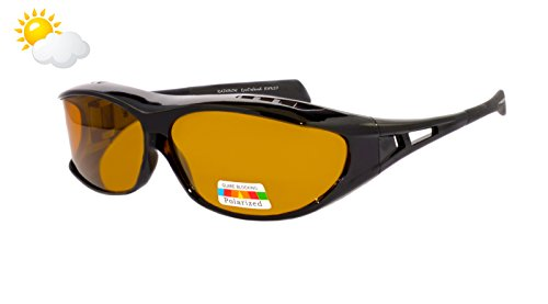 Rainbow Sonnenbrillen EyeDefend für Brillenträgen / Überzieh-Sonnenbrille für Brillenträger / Schutzbrille für Sport Radfahren Skifahren Angeln / Polarisierte Gläser / RWN20 (Sun Cat 2)
