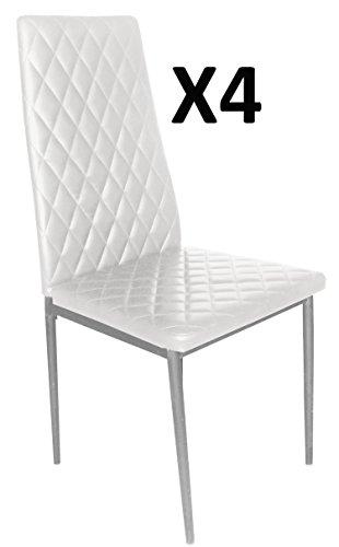 Lot de 4 Chaises longue de salon Blanc/Gris argent, 500 x 415 x 950 mm -PEGANE-
