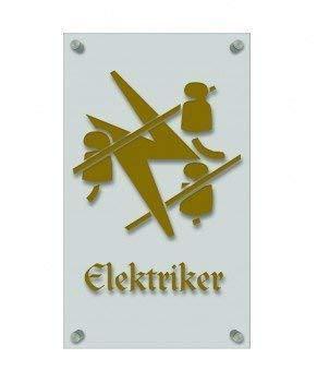 werker-Zeichen, edle Acryl-Kunststoff-Platte mit Beschriftung - Elektriker - in gold, silber, schwarz oder weiß - 309435 Farbe gold ()