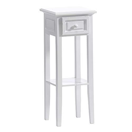 dasmöbelwerk Telefontisch Beistelltisch weiß Landhaus H 67 cm mit Schublade und Ablage 01.037.01