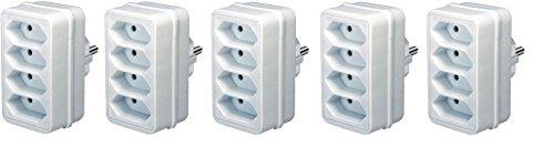 Preisvergleich Produktbild 5er Sparpack Brennenstuhl Adapterstecker Euro 4-fach weiß