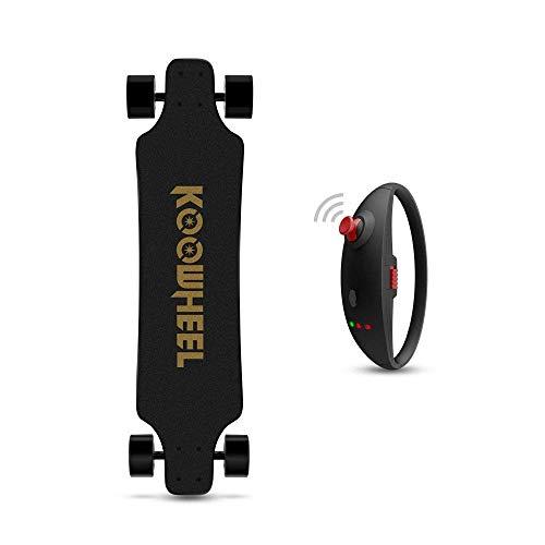Koowheel - Monopatín/longboard eléctrico, versión dual, sin escobillas, motor de cubo, 4300mAh, recargable, con mando a distancia, negro