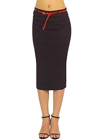 iB-iP Femme Midi Doux De Slim Fit Bandage Élastique Bo Taille Haute Jupe Droite, Taille: M, Noir