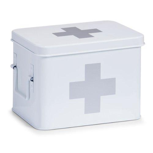 zeller-18118-boite-a-pharmacie-en-metal-blanc-215-x-16-x-16-cm