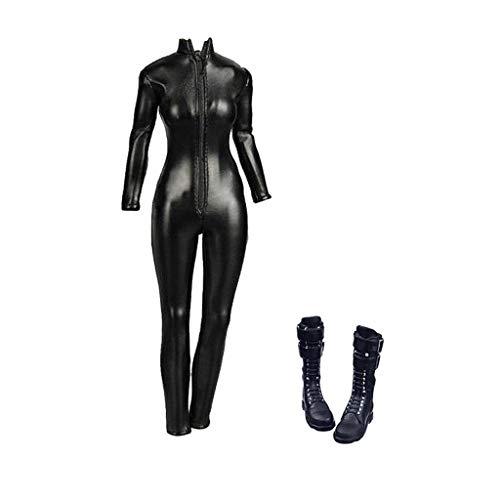 Weiblichen Action Kostüm - Baoblaze 1/6 Skala Pu Leder Overall, Lange Stiefel Weibliche Kostüm Outfits Für 12 Zoll Hot Toys Ht / Phicen Ph / Jiaou / Cy Mädchen Action Figuren