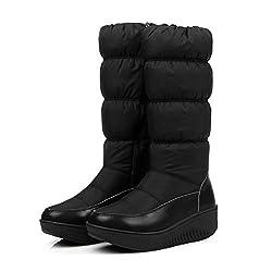 women mid calf booties snow boots winter inside zipper elastic band solid plush platform comfortable shoes - 31pKjPpQvUL - Women Mid Calf Booties Snow Boots Winter Inside Zipper Elastic Band Solid Plush Platform Comfortable Shoes