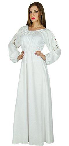 (Bimba Frauen Boho gotik lange Maxi-Kleid-Spitze mit Langen Ärmeln weißen Kleid)