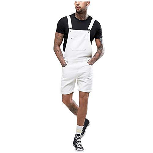 GreatestPAK Herren Taschen Jeans Overalls Streetwear Tunnelzug Hosen Multi-Pockets Washed Bib Jumpsuits,Weiß,EU:S(Tag:L) (Bib Overalls Pink)
