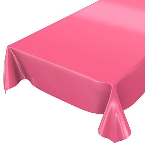 ANRO Wachstuchtischdecke Wachstuch abwaschbare Tischdecke Uni Glanz Einfarbig Fuchsia 100x140cm