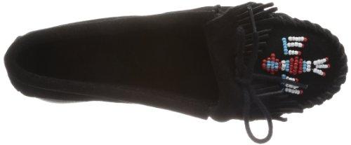Minnetonka - Thunderbird Suede Boat Sole, Mocassino da donna Nero (Schwarz/Black)