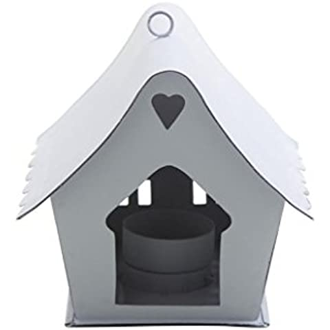 Store Indya, Casa hecha a mano de metal en forma de soporte de la luz del te Vela con colgantes anillo Encima