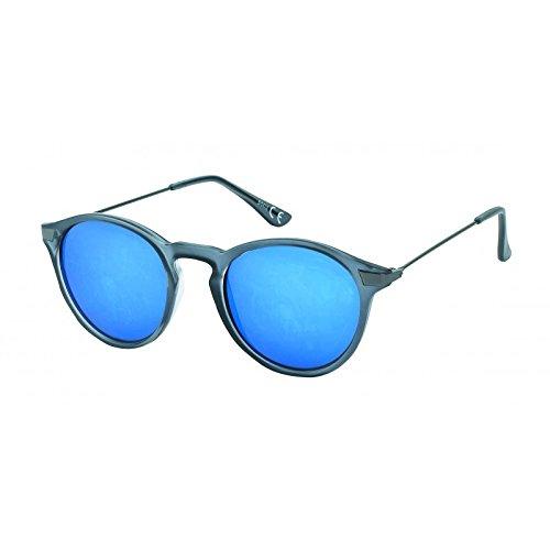 Chic-Net Panto Sonnenbrille rund John Lennon Stil Vintage 400UV Streifen Metallbügel dünn grau