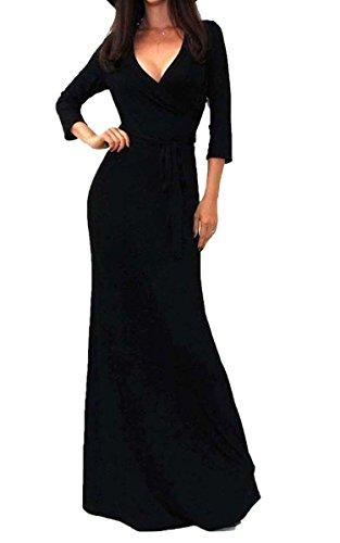 ECOWISH Damen Lange Ärmel tiefem V-Ausschnitt-Partei-Kleid-Maxi langes Abendkleid Schwarz