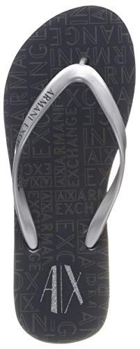 Armani Exchange Damen Rubber Slide Multicolor Zehentrenner, Silber (Silver+Dk Grey 00520), 39 EU