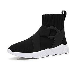 VCAFDAF Schneestiefel Socken Schuhe Damen Herbst Winter Wild Plus Samt Socken lässig hohe Hilfe Sportschuhe schwarzes Obermaterial Weiß Plus Samt Schneestiefel