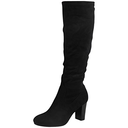 Womens Ladies Mid Calf Boots Fold Over Long Stretch High Cuban Heel...