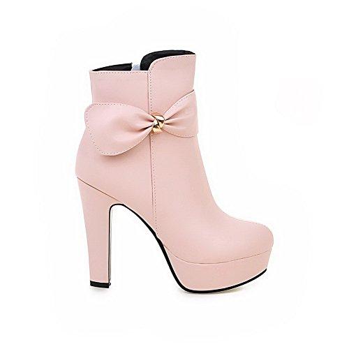 AgooLar Damen Hoher Absatz PU Rein Niedrig-Spitze Stiefel mit Schnalle, Pink, 35