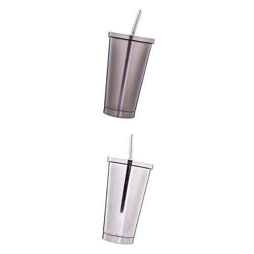 F Fityle 2Stk. Edelstahl Kaffeebecher Thermobecher Isolierbecher Travel Mug Trinkbecher mit Strohhalm und Schraubdeckel, 500ml, Auslaufsicher