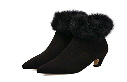 Scarpe Da Calcio Donna In Chiusura A Caldo Con Tacco Basso In Inverno Black