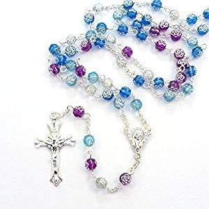 Rosa Blau Lila Blumen Kunststoff-Rosenkranz Halskette 56 cm Länge, MITTE - Und Blau Rosenkranz Rosa