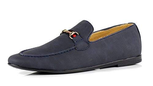 Jas da uomo casual mocassini italiana moda scarpe slip-on camoscio sintetico numeri uk - navy, 44