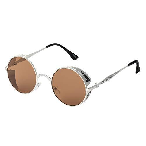 Ultra Silber mit Braunen Gläsern Steampunk Sonnenbrille Retro Damen Herren Rund Rave Gothic Vintage Victorian Kupfer UV400 Schutz Metall Unisex