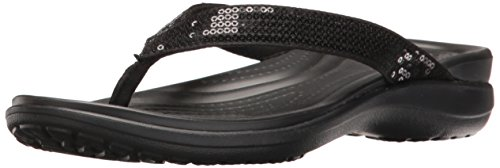 Crocs Ladies Capri V Sequin Flip Toe Separator Nero (nero)