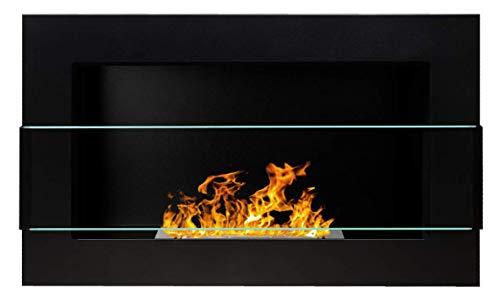 Bio Ethanol Fire BioFire Fireplace Modern 650 x 400 Black FLAT BACK ANY WALL MOUNTED (With Glass Panel)