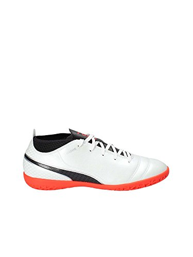 Puma One 17.4 IT Jr, Chaussures de Football Mixte Enfant, White-Black-Coral, 38 EU