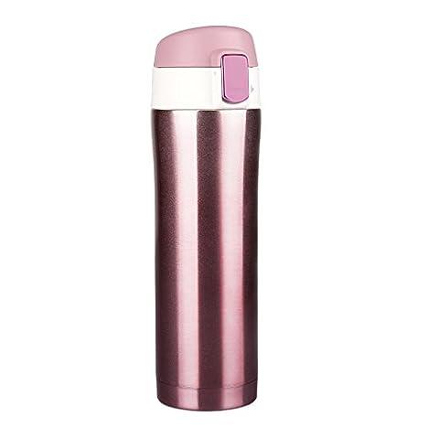 MAVIE Mug isotherme de voyage, 450ml Bouteille isotherme d'acier inoxydable hermétique et Compact Camping, Tasse thermique à thé à café sans BPA anti-fuite d'eau 12 heures (Rose)