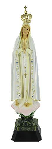Ferrari & Arrighetti Imagen de la Virgen de Fátima de 37 cm Pintada a Mano y embellecida con Strass
