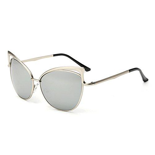 Pingenaneer Schick Klassische Sonnenbrille Katzenauge Metall Rand Rahmen Harz Linse UV400 Schutz für Herren und Damen