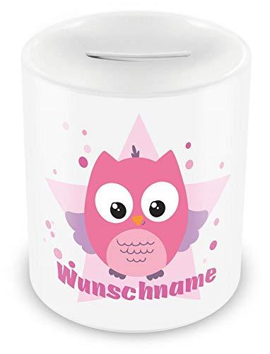 Samunshi® Kinder Spardose mit Namen und Rosa Eule als Motiv für Kinder - Jungen und Mädchen Sparschwein Nr.1: weiß H:95mm / D:82mm