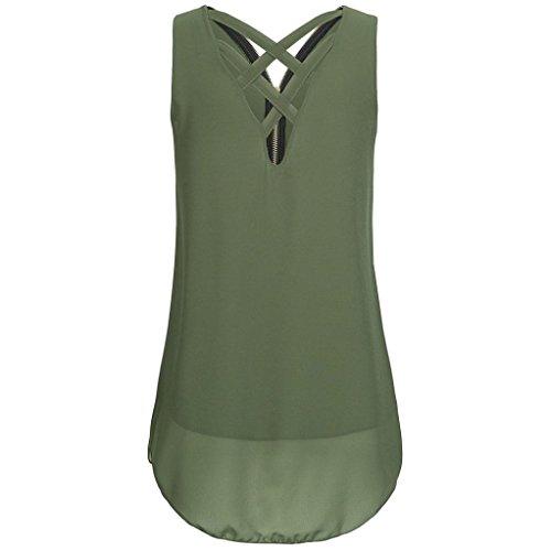 SANFASHION Tank Tops Damen Sommer Lose ärmellos Saum Gelegt Reißverschluss V-Neck T Shirt Bluse