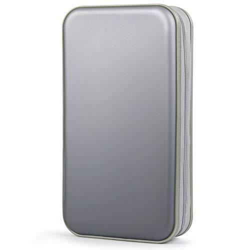 COOFIT CD Tasche, 80 CD/DVD Tasche DVD Lagerung DVD Case VCD Wallets Speicher Organizer Hard Plastik Schutz DVD Lagerung (Grau)