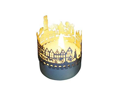 13gramm Brügge-Skyline Windlicht Schattenspiel Souvenir, 3D Edelstahl Aufsatz für Kerze inkl. Karte