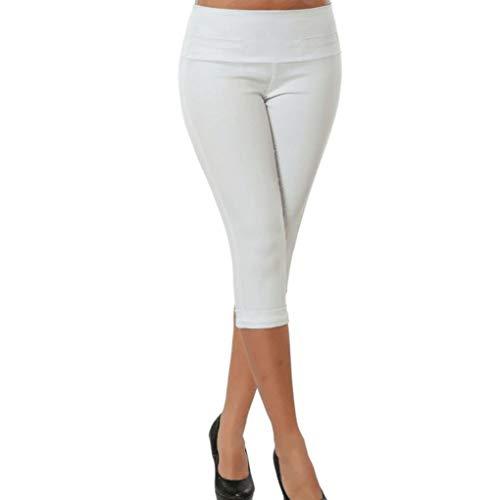 Zarupeng Einfarbig Cropped Hose Stretch Leggings, Frauen Große Größen Freizeithosen mit Taschen | Beiläufige Elastische Hosen Slim Bleistifthosen