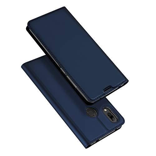 DUX DUCIS Hülle für Huawei Y7 2019, Leder Flip Handyhülle Schutzhülle Tasche Case mit [Kartenfach] [Standfunktion] [Magnetverschluss] für Huawei Y7 2019 (Blau)