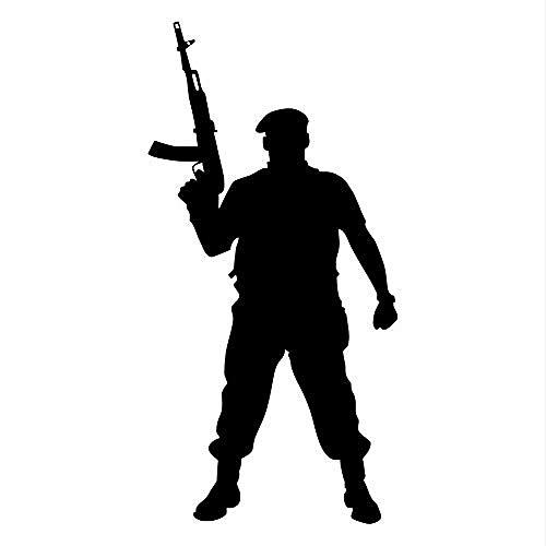 Marine Corps Applique (Wandaufkleber Tapferer Soldat mit Pistole Silhouette Wandtattoo Vinyl Applique Marine Corps Military Krieg Soldat Schlafzimmer Wohnkultur 58 * 114 cm)