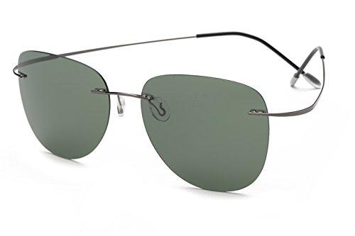 TL-Sunglasses 100% Titan Silhouette Sonnenbrillen Polaroid Polarized super Leichte randlose Männer Polaroid Sonnenbrille Brillen, Titan ZP 2117 C2