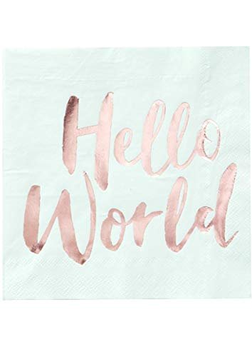 Hello World - Mint & Rose Gold Paper Napkins