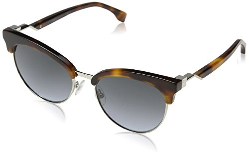 Fendi ff 0229/s gb 086, occhiali da sole donna, marrone (dark havana/grey azure), 55