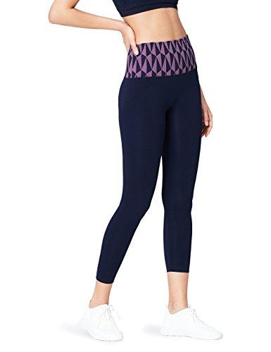 Activewear Mallas de Deporte Estampadas sin Costuras para Mujer , Azul (Navy/lilac), 40 (Talla del fabricante: Medium)