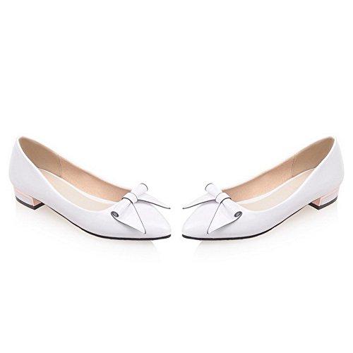 AgooLar Femme Couleur Unie Pu Cuir à Talon Bas Pointu Tire Chaussures Légeres Blanc