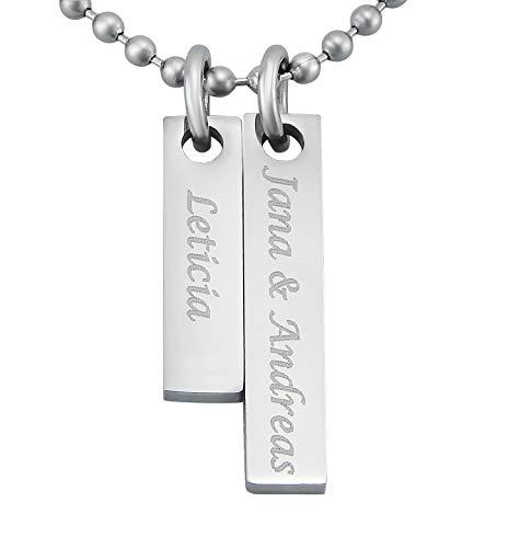 Hanessa Gravierte Edel-Stahl Kette mit Wunsch Gravur Edelstahl Familien Anhänger in Silber mit individuellem Text, Geschenk für die Frau oder Freundin, Zur Geburt