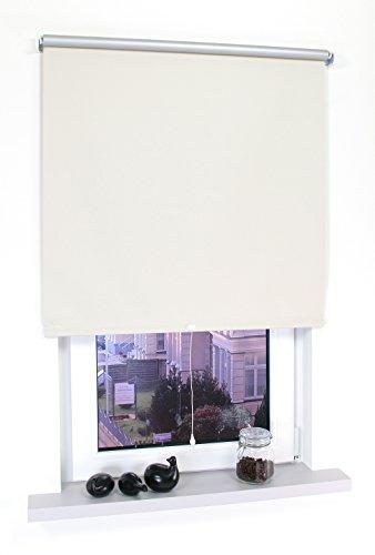 Liedeco® Rollo, Spring-, Schnapprollo / 192 x 180 cm (Breite x Höhe), beige/Thermo-Beschichtung, Verdunkelnd, Blickdicht/viele Farben, Größen und Typen/Breiten 60-200 cm/Variable Montage möglich -