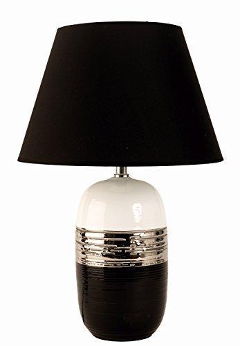 Schwarze Keramik Lampe (Moderne Tischlampe Deko Lampe aus Keramik schwarz/silber/weiß Höhe 45 cm)