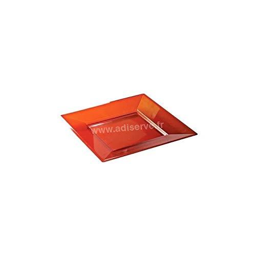 Assiette carrée Rouge Cristal 18 cm par 12