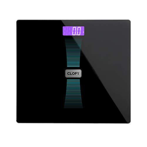 CLOFY Digitale Personenwaage Körperwaage Waage Gewichtswaage aus Gehärtete Glas mit LCD-Display, Schwarz, Digitalwaage, 31 st/200 kg /440 Lb